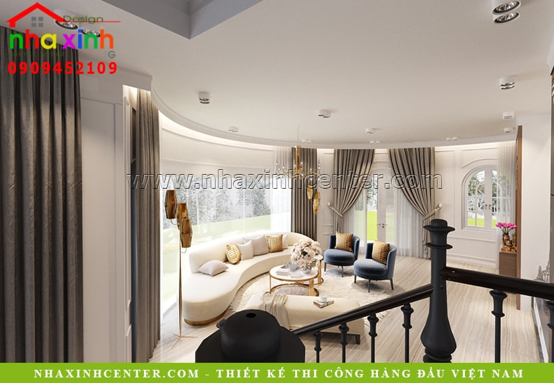 Thiết kế nội thất phòng khách với đường cong ấn tượng