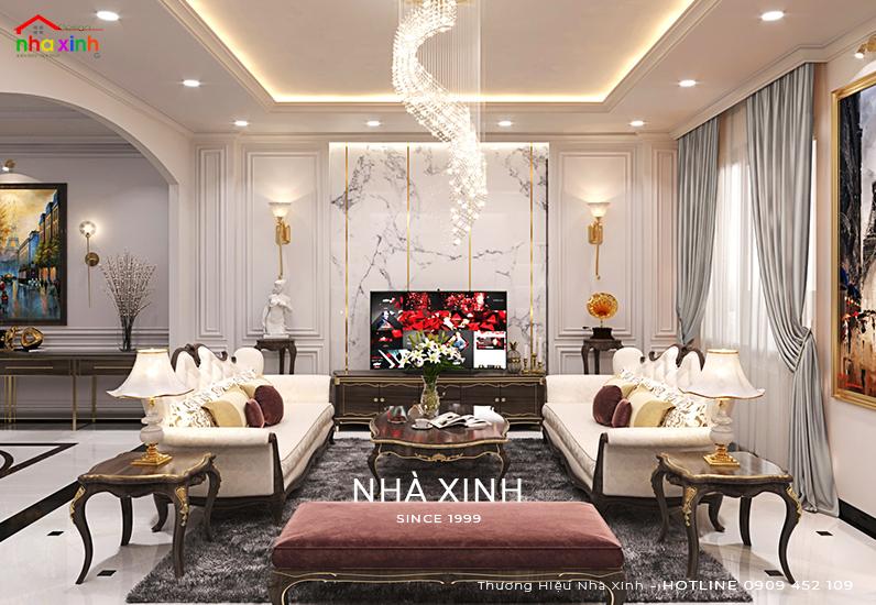 Thiết kế nội thất phòng khách đẹp với đá hoa cương