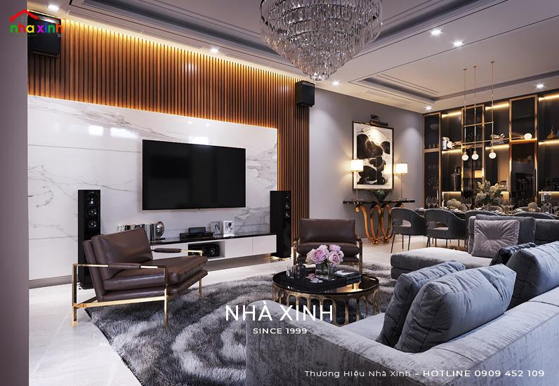 Thiết kế nội thất phòng khách đẹp với vải nhung